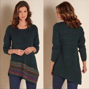 Soft Surroundings Raku Tunic Boho Knit Asymmetric Sweater